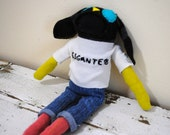 """San Francisco Giant, """"Gigantes"""",  Unique Stuffed Bunny Sock  Animal, Hand Stitched, Made from Reclaimed Fabric,OOAK"""