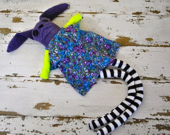 Unique Rag Doll Sock Animal Bunny, Made with all Reclaimed Clothing, Plush Softie, Stuffed Animal, Hand-Stiched, Sustainable, OOAK, Hipster