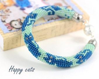 Happy cats - Beaded Bracelet -  Bead Crochet Bracelet  - Blue Light-green Bangle Bracelet Beadwork Handmade Jewelry Cats Animals Antistress