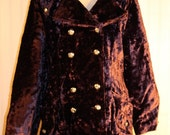 70's Vintage Purple Faux Fur Double Breasted Winter Coat Silver Buttons