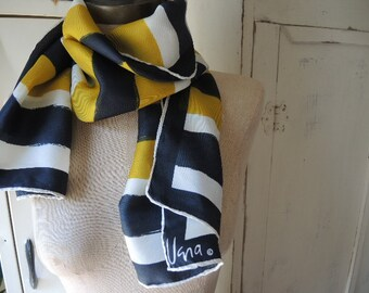 Vintage 1970s Vera Neumann scarf brushstroked stripes silk and rayon 15 x 45 inches