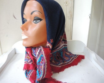 Vintage rayon scarf brick red aqua and gold paisley on a navy black background 33 x 33 inches