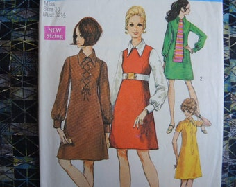 vintage 1960s simplicity sewing pattern 8340 misses dress and scarf size 10