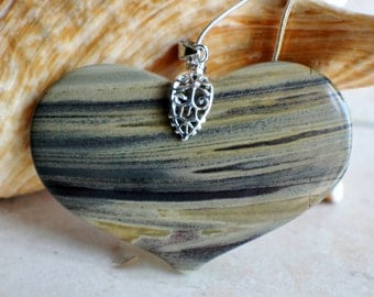 Heart shaped stone necklace, in brown tones on sterling silver chain