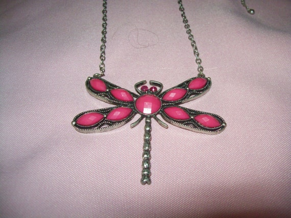 RESERVED for Melody Black Friday Sale Dragonfly pendant necklace, pink dragonfly pendant necklace