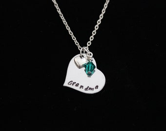 Grandma Heart Hand Stamped Necklace with Heart Silver Charm and Swarovski Crystal Birthstone