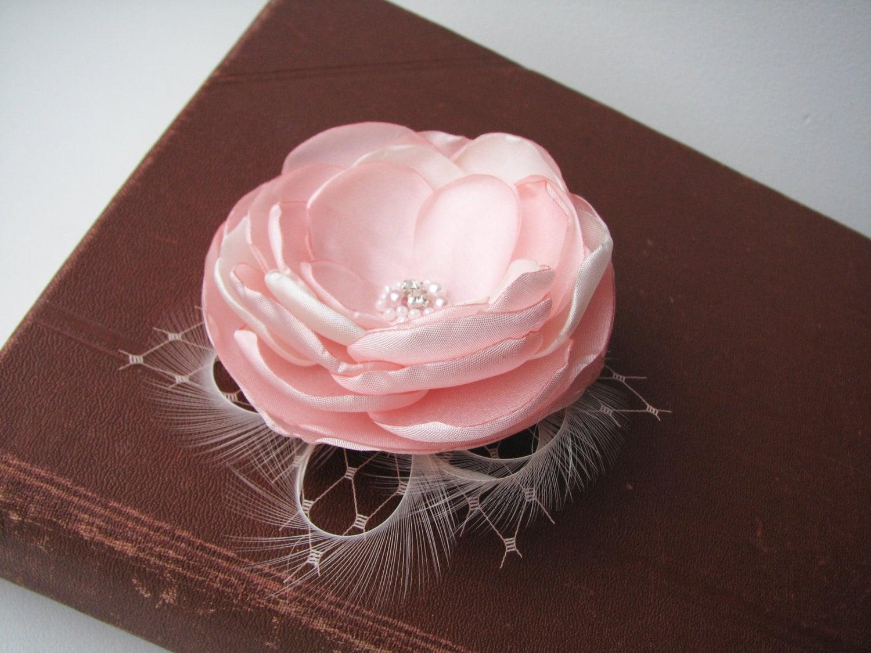 Blush Pink Hair Flower Or Brooch Bridal Wedding: Bridal Hair Clip Blush Pink Wedding Hair Piece Pale Pink
