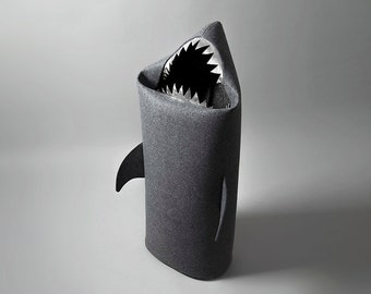 New! SHARK anthracite. Felt laundry basket for bathroom or children's room  as a basket for toys from Uczarczyk, shark with silver teeth