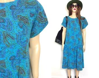 Vintage 80's Dress 90's Dress Hippie Dress Teal Grunge Dress Slouchy Dress Low Waist Sack Dress Baggy Dress Minimalist Dress Boho Dress Med