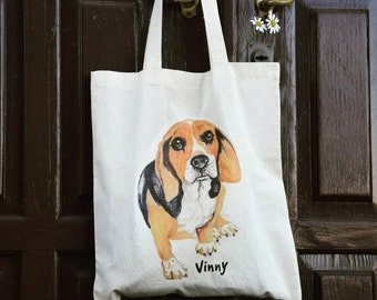 Custom dog portrait tote bag. Dog art tote bag.Personalized Tote. Custom Watercolor Pet Portrait. Gift for pet owners. Pet Memorial gift.