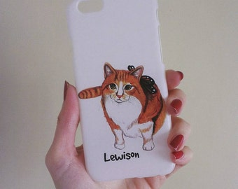 Custom Pet (any pet!) Portrait Iphone Cover. Personalized with a painting of your cat! Compatible with Iphone4/4S, 5/5s,5c, Iphone 6, 6 Plus