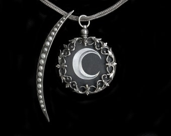 Sandra Hendler Original Hand Painted Miniature Crescent Moon In A Black Sky  Antique Silver Leafy Locket