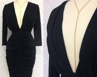 VTG 1980s Plunging Deep V Neckline Little Black Cocktail Dress Size S