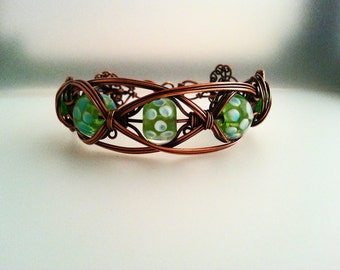 Wire Wrapped Copper Bracelet With Green Lampwork Beads