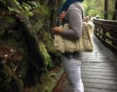 Large Knitted Cream Handbag Chunky Knit Purse Boho Ivory Knit Bag Non Leather Handles