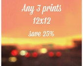 DISCOUNTED SET - Set of 3 Photographs - Size 12x12 - affordable art - large wall art - art sale - photography sale - fits Ribba