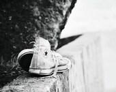 black and white fine art photography, retro, hipster, converse, sneaker, fashion wall art, urban, graffiti, unisex decor, fPOE