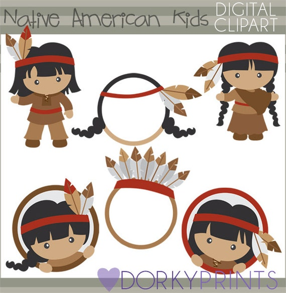 Thanksgiving Clipart Native American Kids Personal and