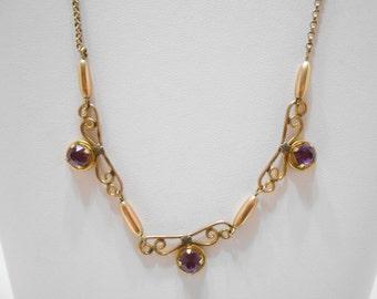 Vintage Gorgeous Gold Filled Amethyst Necklace (1742)