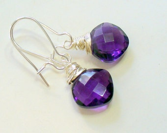 African Violet Purple Quartz Wire Wrapped Earrings, Cushion Cut Heart Briolettes, Wire Wrapped, Gemstone, Jewelry, Purple, February Birthday