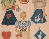RARE 1940s Apron Vintage Sewing Pattern - McCall 606 - One Size, Appliques & Potholder, Partially Cut, Complete
