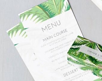 Tropical Design Wedding Menu