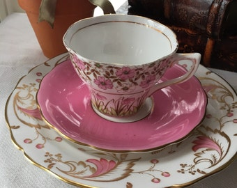 Lucious Pink Enlish Teacup Trio Mismatchred