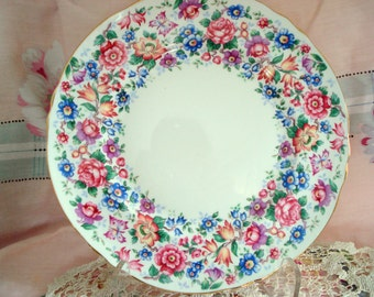 Vintage Luncheon Plate Chintz Crown Staffordshire Fine Bone China England Salad Tea Plate Shabby Chic Vintage Wedding