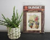 Sunset Stitchery kit boho parrot plants and egg chair string art crewel yarn art