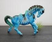 Mid century ceramic dancing horse with blue green glaze equine statue vintage horse figurine