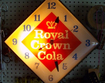 Royal Crown Cola Diamond Back-lit Advertising Clock - Pam Clock Co. - 1950's