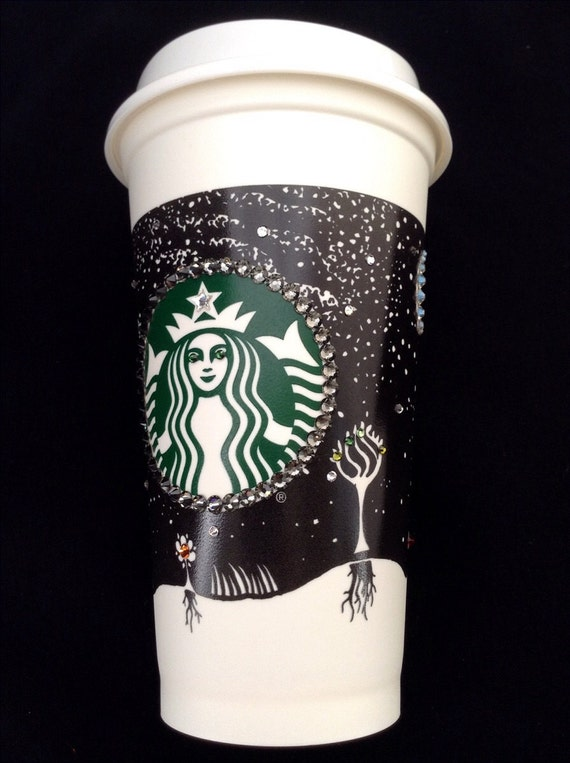 Starbucks Swag Collector Cup Fall w/ Swarovski Crystal reuseable 16oz Grande Eco Travel Coffee Tea Tumbler mug drink Rhinestone Bling Gift