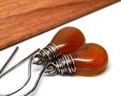 Amber Chalcedony earrings, orange chalcedony jewelry gift, alternate birthstone jewelry, sterling silver chalcedony dangle earrings