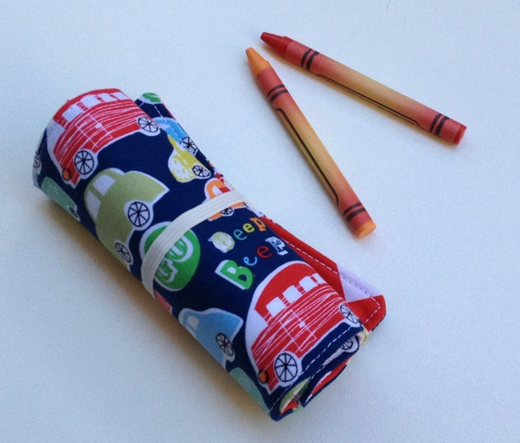 cars crayon roll holds up to 12 crayons navy green red kids travel toy boys crayon roll. Black Bedroom Furniture Sets. Home Design Ideas