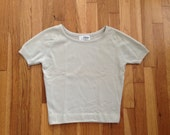 Cashmere Alert / Vintage Cream Virgin Cashmere Cropped Sweater / Small