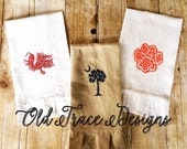 South Carolina Palmetto Gamecock Clemson Paw Print Embroidered Hand Towels Guest Hostess Gift