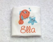 Girls Applique Fish with Starfish T-Shirt or Bodysuit, Girl Tops