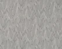 Light Grey Upholstery Fabric with Leaves - Modern Charcoal Grey Padded Headboard Material - Silver Grey Leaf Pillow and Window Seat Cushions