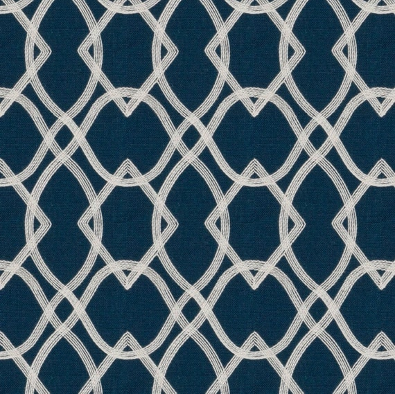 Navy Blue Embroidered Curtain Fabric by the Yard - Custom Navy ...