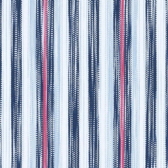Navy Blue Pink Woven Striped Upholstery Fabric Light Blue