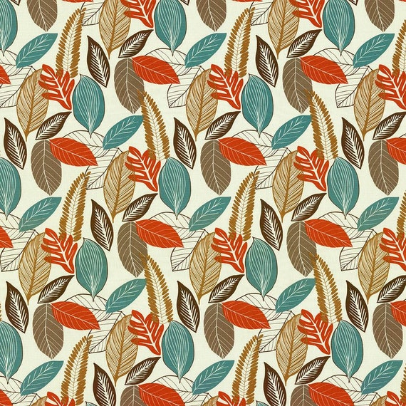 Orange Turquoise Brown Leaf Upholstery Fabric Cotton Leaf