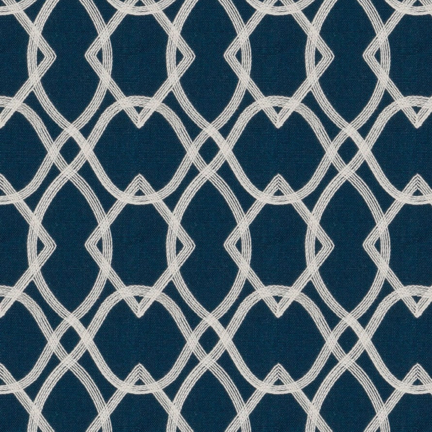 Navy Blue Embroidered Curtain Fabric By The Yard Custom