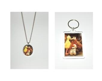 Sesame Street Big Bird Snuffy Snuffleupagus and Barkley the Dog Glass Pendant Necklace and/ or Keychain