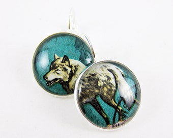 Wild & Free Wolf Earrings, Vintage Postage Stamp Leverback Earrings, Turquoise Green Earrings, Animal Jewelry, Pop of Color, Gift Idea