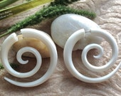 "Fake Gauge Earrings, ""Large Spirals"" Natural, Bone, Handcrafted, Tribal"