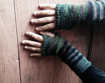 Fingerless gloves, arm warmers, striped gloves, natural colors wool gloves