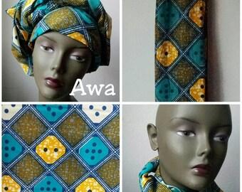 BANK HOLIDAY SALE Awa African Ankara print tribal chic neck head wrap scarf - blue orange ochre - Summer 2016 - New