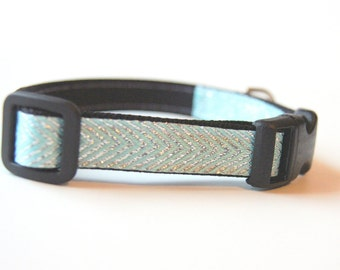 Aqua Silver Chevron Dog Collar Adjustable Sizes (XS, S, M)