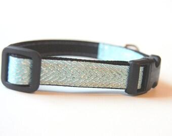 Aqua Silver Chevron Dog Collar Adjustable Sizes (XS, S, M)