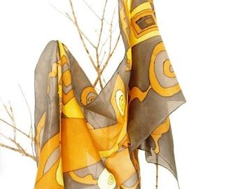 Elegant handpainted silk memories. Silk shawl for her 180x45cm. grey, yellow and mustard